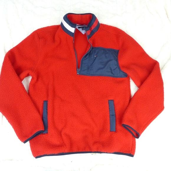Tommy Hilfiger Other - VTG 90s Tommy Hilfiger Red Fleece Logo Neck XL